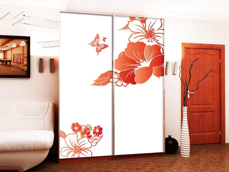 Двери для шкафа купе с рисунком цветов